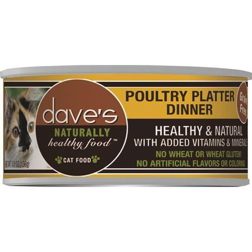 Daves Naturally Healthy Cat Food, Poultry Platter Dinner Case of 24