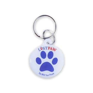 Lost Paw NFC Pet Tag Red and Blue. Red and Blue lightweight waterproof epoxy hanging pet tag that uses NFC to transmit information about your pet when the tag is tapped by a phone.