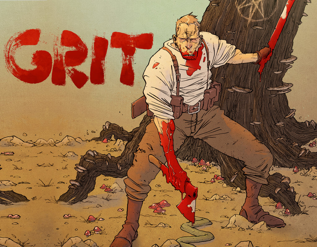 COMING THIS JULY FROM SCOUT COMICS. GRIT!