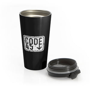 Code 45 (White Logo Design) - Black Stainless Steel Travel Mug