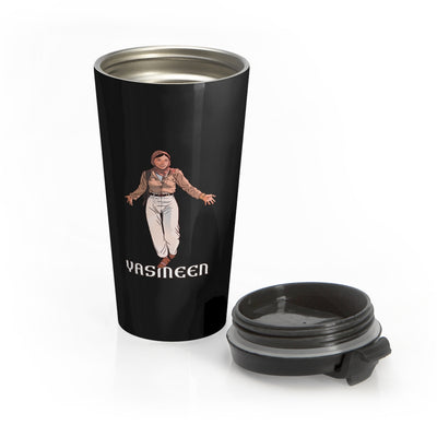 Yasmeen (Open Arms Design) - Black Stainless Steel Travel Mug