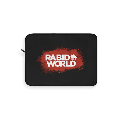 Rabid World (Red Splatter Logo Design) - Black Laptop Sleeve