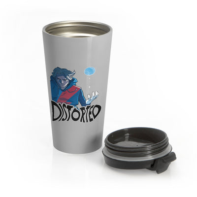 Distorted (Promo 2 Design) - Grey Stainless Steel Travel Mug