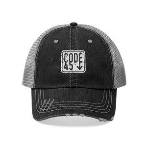 Code 45 (White Logo Design) - Unisex Trucker Hat