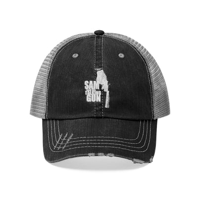 Sam And His Talking Gun (Logo Design) - Unisex Trucker Hat