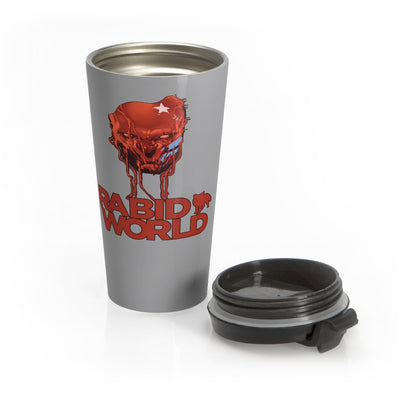 Rabid World (Head Design) - Grey Stainless Steel Travel Mug