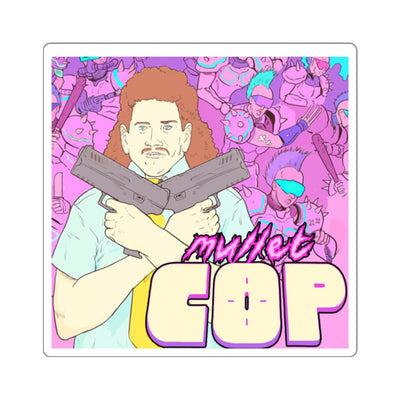 Mullet Cop (Fred Design) - Square Stickers