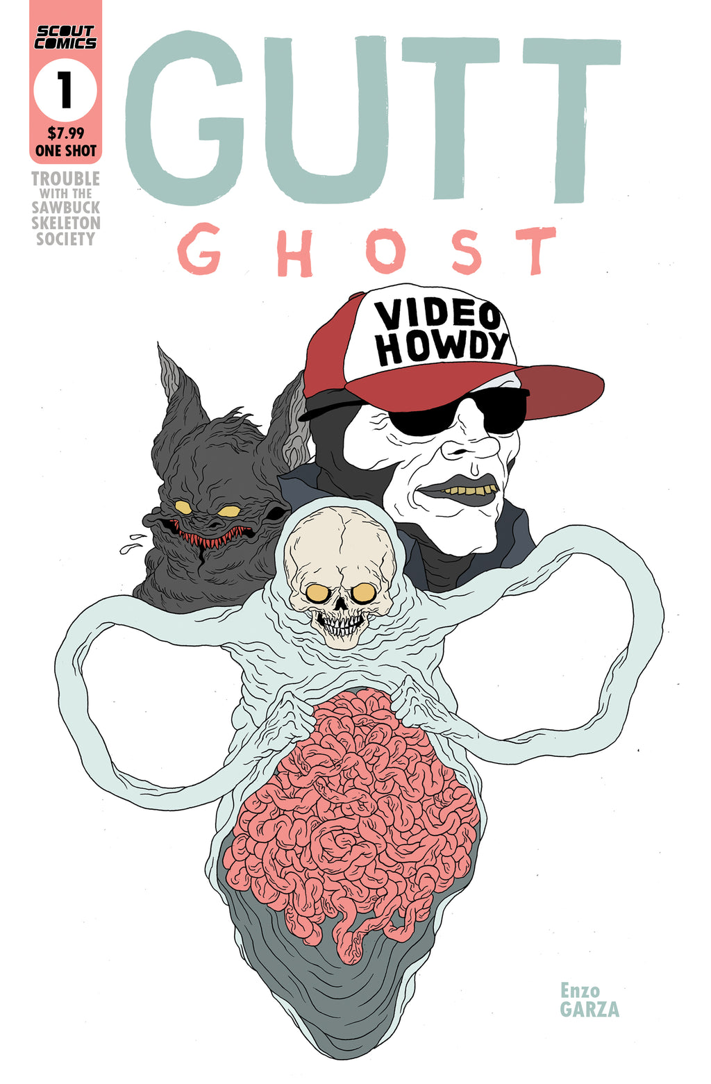 Gutt Ghost Trouble With The Sawbucket Skeleton Society #1 - Glow In The Dark Cover