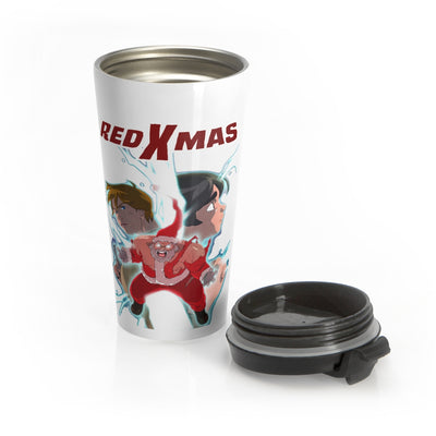 Red XMAS (Alternative Design) - White Stainless Steel Travel Mug