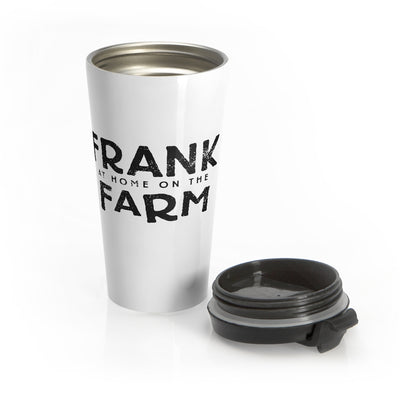 Frank At Home On The Farm (Logo Design) - White Stainless Steel Travel Mug