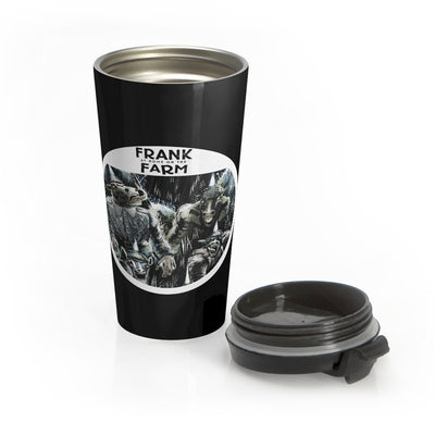 Frank At Home On The Farm (Design One) - Black Stainless Steel Travel Mug