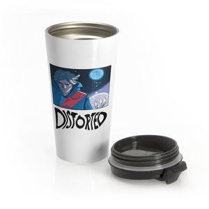 Distorted (Promo 1 Design) - White Stainless Steel Travel Mug