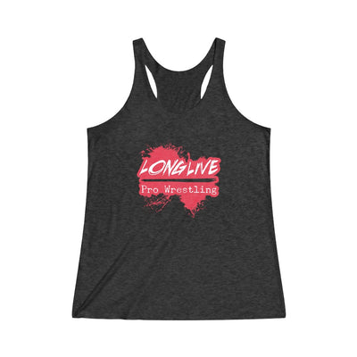 Long Live Pro Wrestling (Red Logo Design) - Women's Tri-Blend Racerback Tank