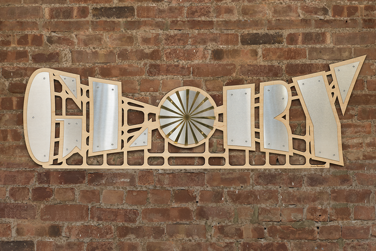 Glory Metal & Wood Sign | Stainless Steel, Brass & Birch Wood