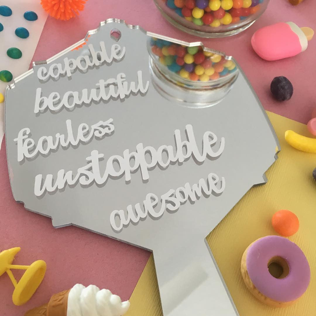 Capable. Beautiful. Fearless. Awesome. UNSTOPPABLE. Vanity Mirror | Hand Mirror