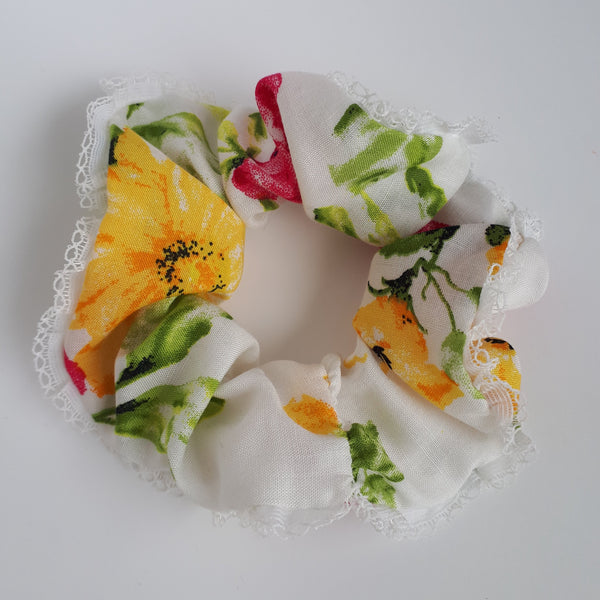 White Floral Hair Scrunchie with lace detailing