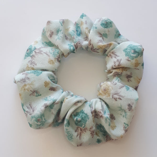 Blue floral hair scrunchie