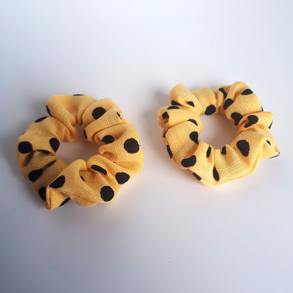 mini yellow polkadot hair scrunchies