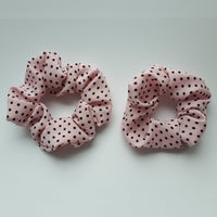 Mother and Daughter Matching Set of 2 Pink Polka dot Hair Scrunchies