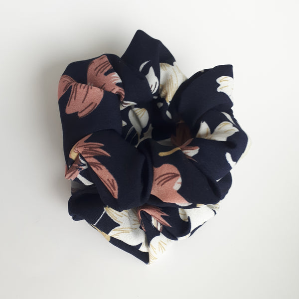 Dark Blue Floral Hair Scrunchies