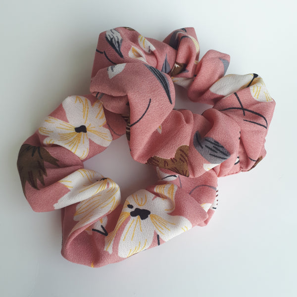 Pink Floral Hair Scrunchies