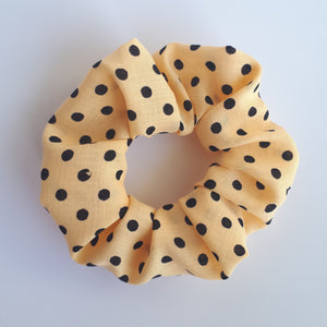 medium yellow polkadot scrunchie