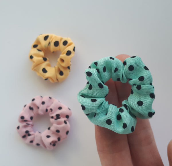 Mini Blue & Black Polka Dot Hair Scrunchies