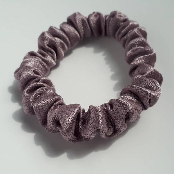 2 Thin Shiny Purple Hair Scrunchies (Limited Edition)