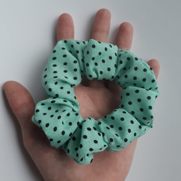 Blue with Black Polka Dot Hair Scrunchie