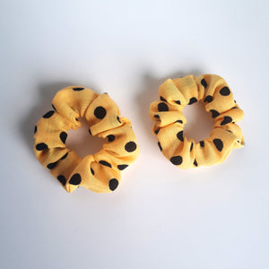 Set of 2 mini yellow polkadot hair scrunchies