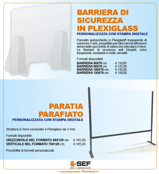 Barriera in plexiglass e Paratia parafiato