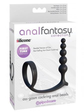 ASS-GASM COCKRING CON ANAL BEADS Nero