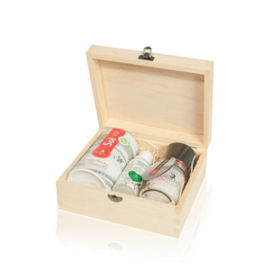 Nin Solana beautiful wooden gift box with Salt Grinder,Sea Salt Salt and Toothpaste with Sage