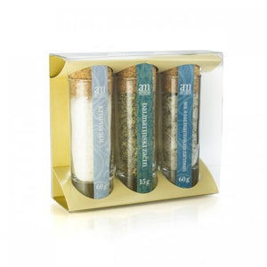 Three Mediterranean Spices and aromatized salts collection gift pack