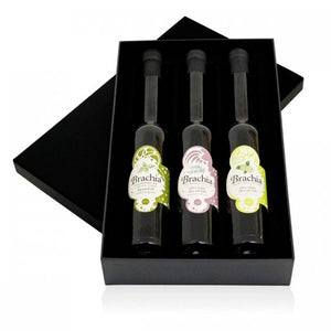 Gift package in an elegant black box, consisting of Brachia flavored oil with Basil 0.1 L, Brachia flavored oil with Rosemary 0.1 L and Brachia flavored oil with Lemon 0.1 L. Product of Croatia.