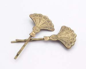 Art deco hair pins fan bridal flapper bobby pins bronze silver vintage 1920's style gatsby