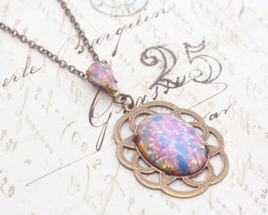 Opal pendant necklace art nouveau fire opal jewel antique style brass vintage glass bronze brass