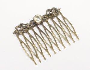 Bridal hair comb brass filigree crystal rhinestone antique style Victorian jewel wedding hair accessory vintage bride bronze