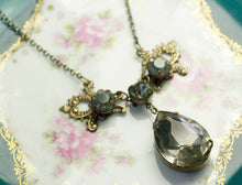 Load image into Gallery viewer, Antique crystal bridal necklace grey jewel vintage brass filigree victorian wedding jewelry