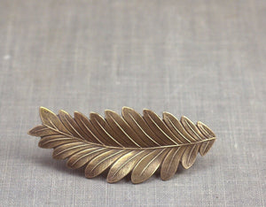 Leaf hair clip barrette bridal grecian goddess brass bronze wedding hair bridesmaid
