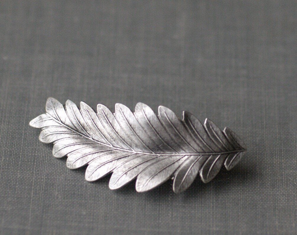 Leaf hair clip leaf barrette grecian bridal goddess silver wedding hair accessory