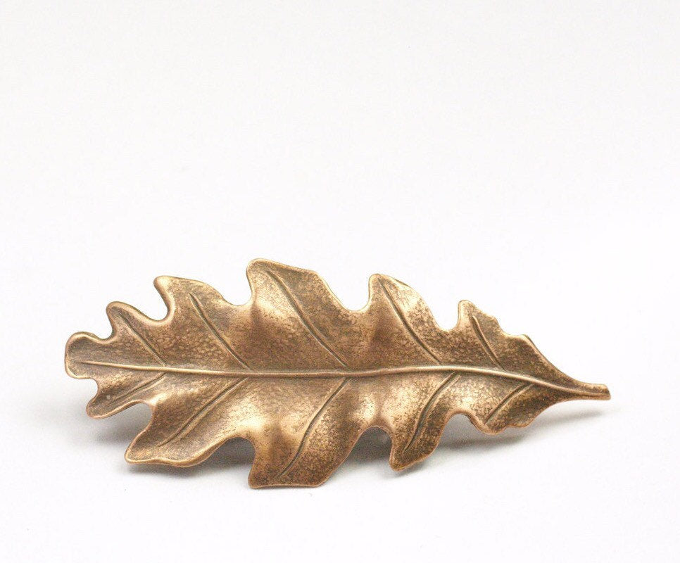 Oak leaf barrette hair clip antique style Victorian autumn hair accessory fall Thanksgiving