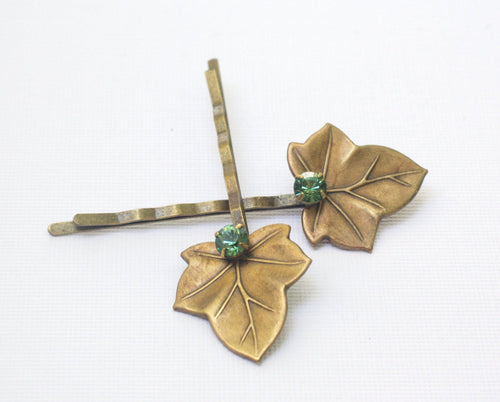 Leaf hair pins ivy leaves bridal brass green crystal bobby pins hair accessory leaf set woodland rustic wedding nature