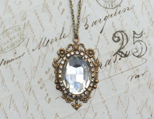 Crystal necklace bridal antique brass jewel wedding jewelry victorian vintage inspired elegant gem pendant rhinestone gilded age