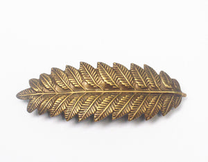 Leaf hair clip fern barrette grecian bridal goddess antique brass bronze finish neoclassical regency wedding hair accessory