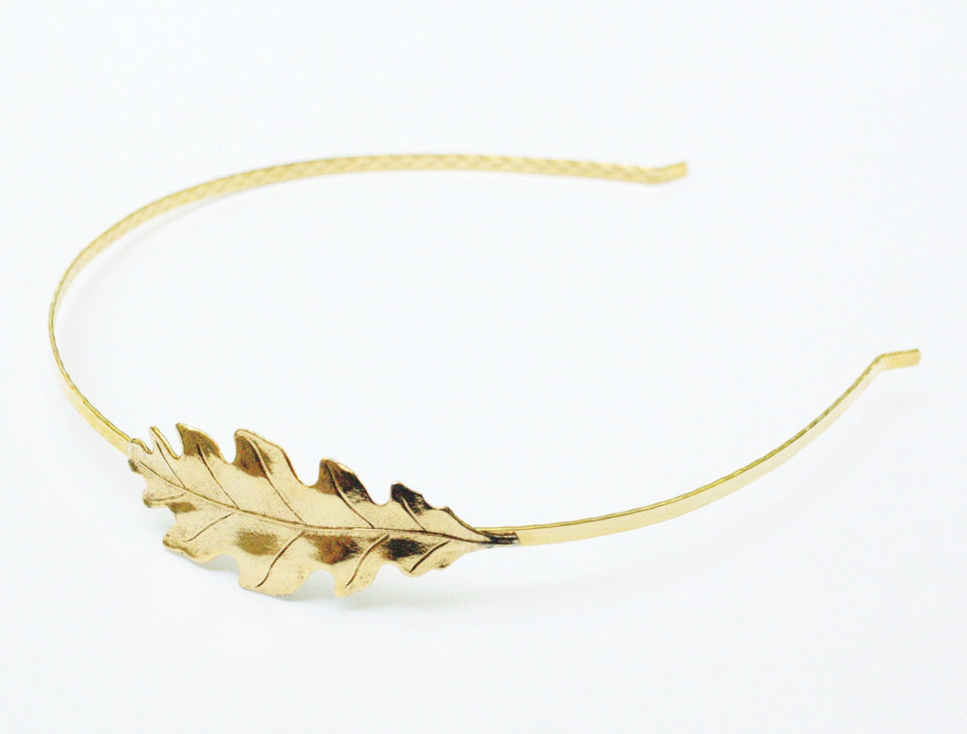 Gold oak leaf headband bridal autumn fall wedding hair accessory hair band golden glamour
