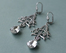 Load image into Gallery viewer, Silver filigree crystal earrings victorian bridal pear jewel antique style wedding