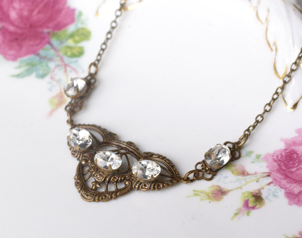 Art nouveau crystal necklace brass filigree 1920's style edwardian jewel bronze bridal wedding jewelry vintage antique style