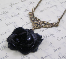 Load image into Gallery viewer, Black rose necklace vintage style brass Noire Victorian gothic floral antique style bronze goth mourning necklace