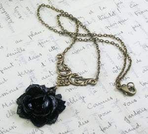 Black rose necklace vintage style brass Noire Victorian gothic floral antique style bronze goth mourning necklace